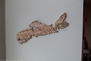 Wood map Nova Scotia #63, scrollsawing, made in Nova Scotia,Antigonish county