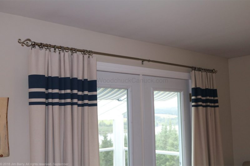 DIY drop cloth drapes with painted stripes