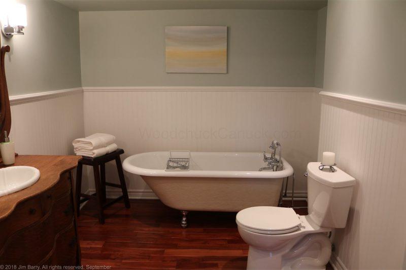 Clawfoot tub in basement bathroom