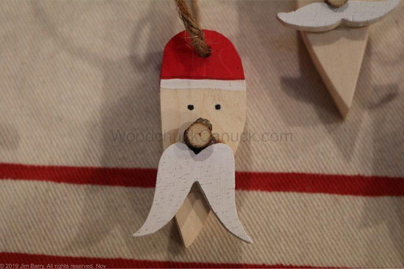 DIY Wooden Santa Christmas Ornaments.