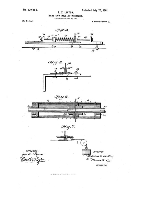 1901 Patent Zebulon Z. Linton bandsaw mill attachment to control springy timber. Pg 3 of 6
