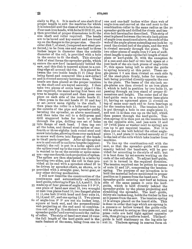 1901 Patent Zebulon Z. Linton bandsaw mill attachment to control springy timber. Pg 5 of 6