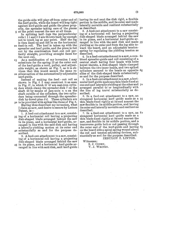 1901 Patent Zebulon Z. Linton bandsaw mill attachment to control springy timber. Pg 6 of 6