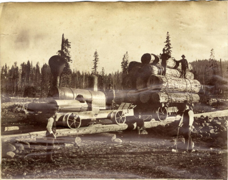 1880 Pole road log transport near Lake Tahoe.