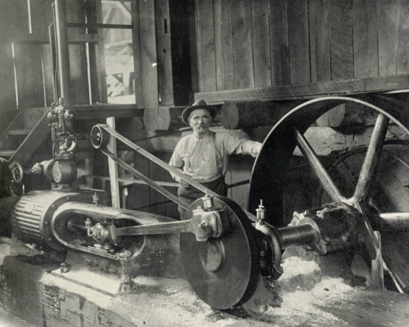 1898 Employee and machinery of Griswold Lumber Company.