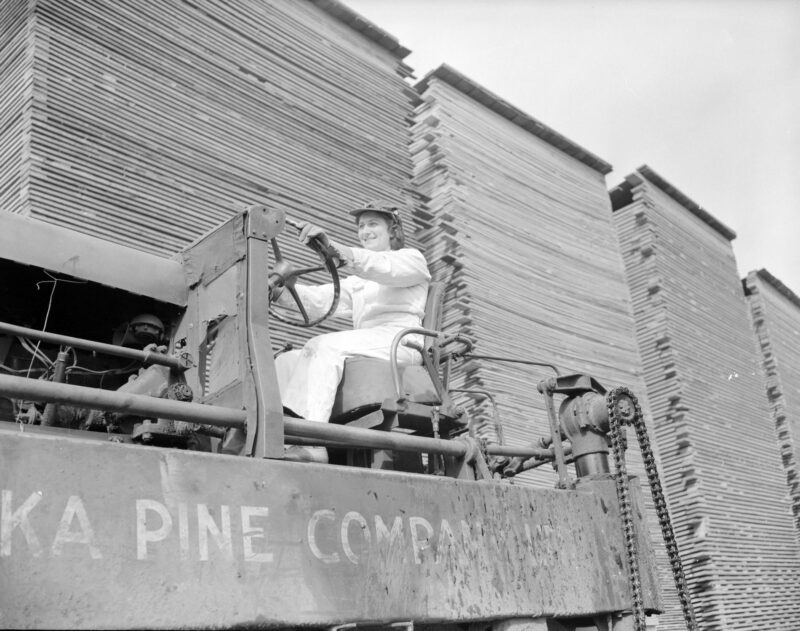 WTC, Women's Timber Corp, creative commons, lumber jill, machinery, online, stacked lumber, women