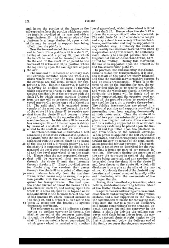 02-03-1903 patent 719585 EH Hanssler portable saw mill pg 5 of 6