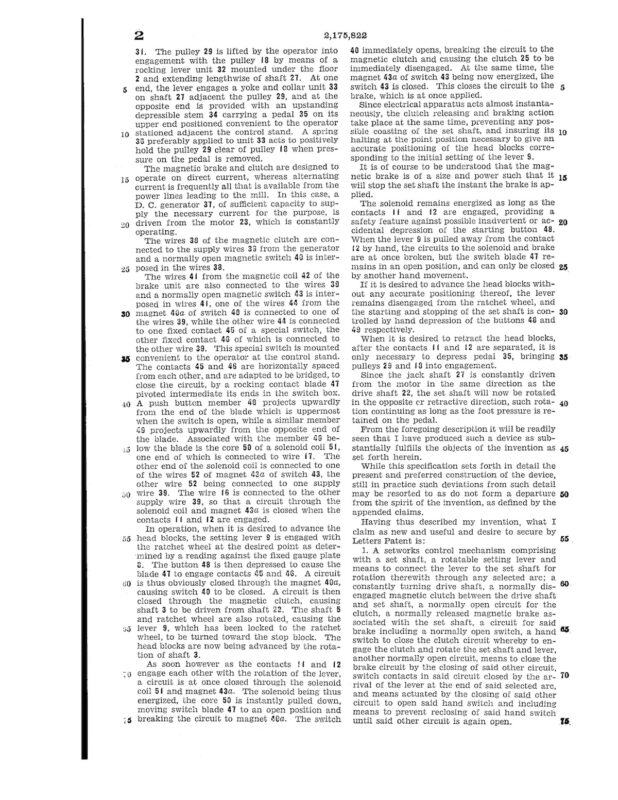 02-11-1938 patent 2175822 1938-01-11 Theodore H. Best, This invention relates to sawmills, and particularly to the setwork of log carriages Pg 3 of 4