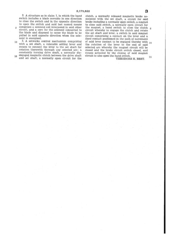 02-11-1938 patent 2175822 1938-01-11 Theodore H. Best, This invention relates to sawmills, and particularly to the setwork of log carriages Pg 4 of 4