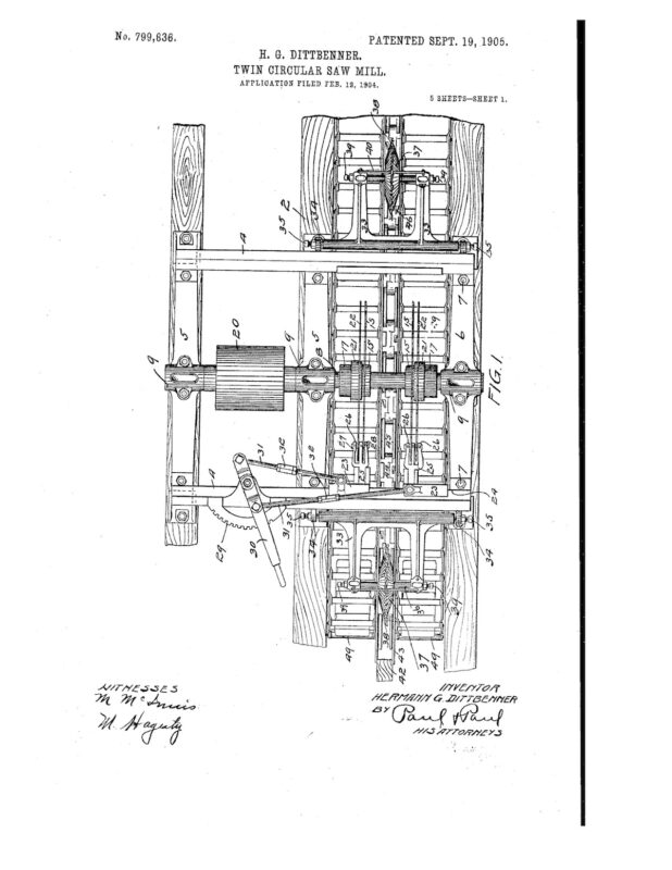 02-12-1904 patent 0799836 1904-02-12 DIAMOND IRON WORKS Hermann G Dittbenner improvement in twin circular saw mills Pg 1 of 8
