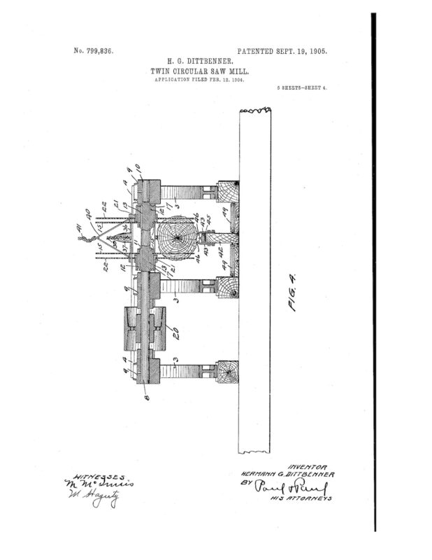 02-12-1904 patent 0799836 1904-02-12 DIAMOND IRON WORKS Hermann G Dittbenner improvement in twin circular saw mills Pg 4 of 8