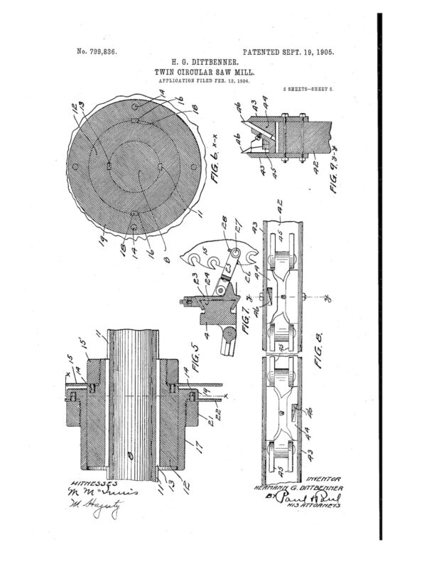 02-12-1904 patent 0799836 1904-02-12 DIAMOND IRON WORKS Hermann G Dittbenner improvement in twin circular saw mills Pg 5 of 8