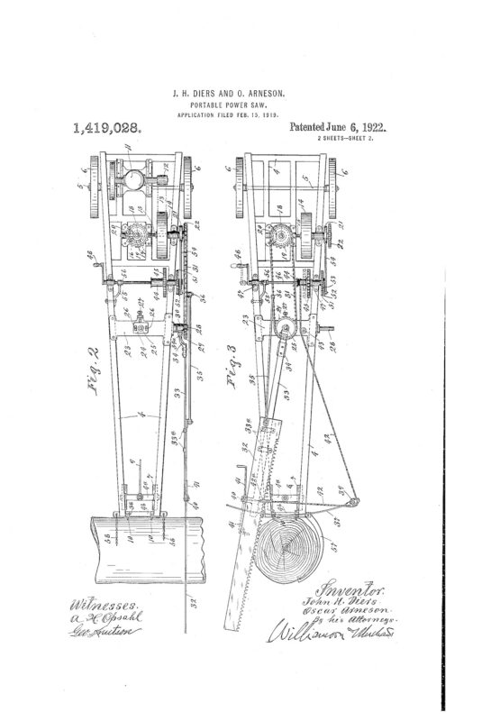 02-15-1919 patent US1419028 Patented 06-06-1922 Portable Power Saw Pg 2 of 6