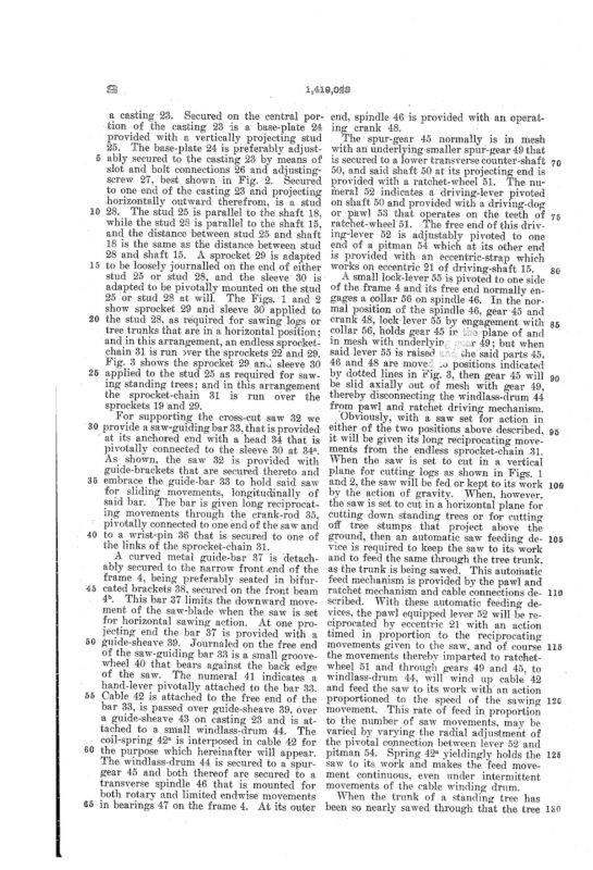 02-15-1919 patent US1419028 Patented 06-06-1922 Portable Power Saw Pg 4 of 6