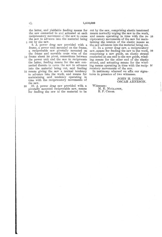 02-15-1919 patent US1419028 Patented 06-06-1922 Portable Power Saw Pg 6 of 6