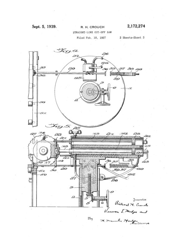 02-18-1937 patent 2172274 1937-02-18 Richard H. Crouch, My invention relates to an improvement in straight line cut-off saws Pg 3 of 5