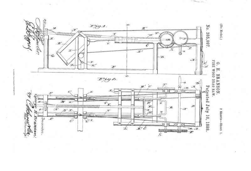 03-05-1888 patent US385997A Firewood drag saw pg 1 of 4