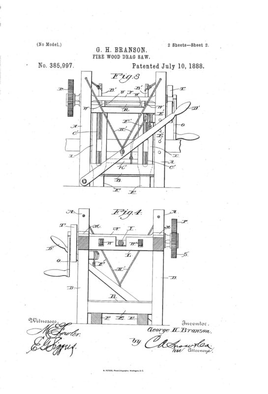 03-05-1888 patent US385997A Firewood drag saw pg 2 of 4