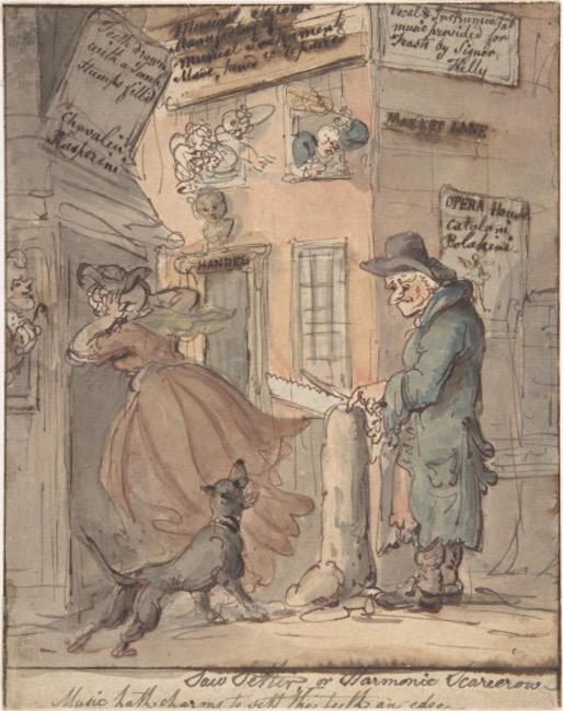 1809 Illustration of a street vendor filing saws.