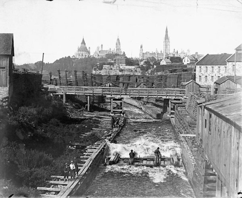 1880-1900 Timber slide, Chaudière Falls, Ottawa - Gatineau, Ontario Canada