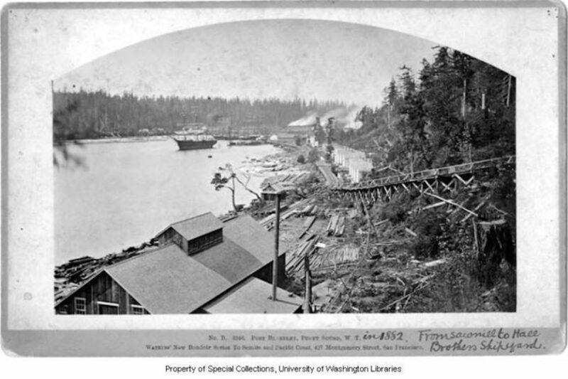 1882 Hall Brothers Shipyard. Vintage logging.
