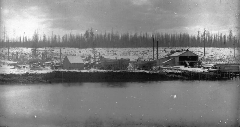 1888 Leamy and Kyle Sawmill at False Creek. Vintage logging.