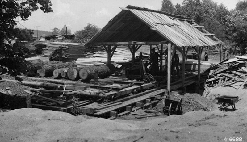 1949 Portable sawmill cutting government logs, Missouri, US
