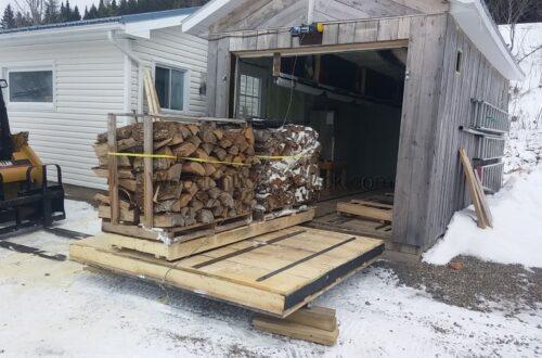 Kiln drying firewood.