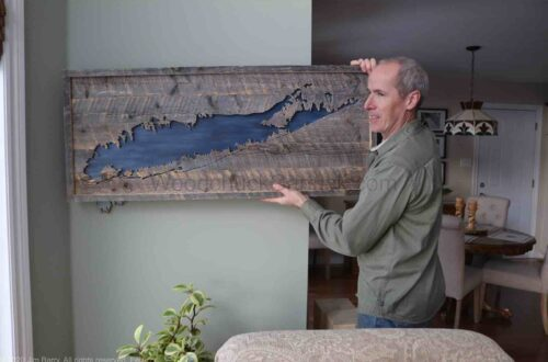 Wood map of Long Island, New York with Jim Barry.