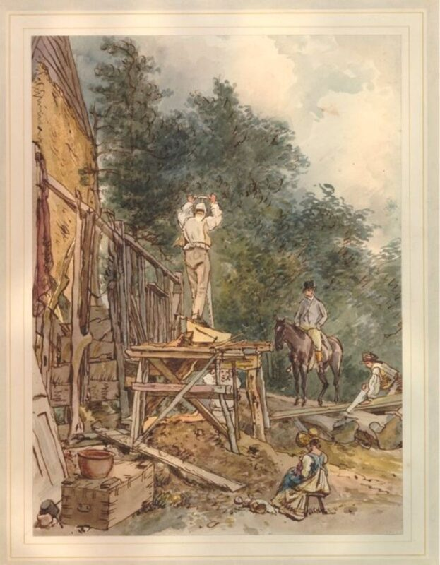 Vintage logging - Saw pits : A water colour illustration of sawyers using a whip saw.