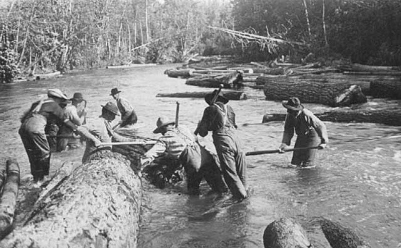 Log rivers working hard.