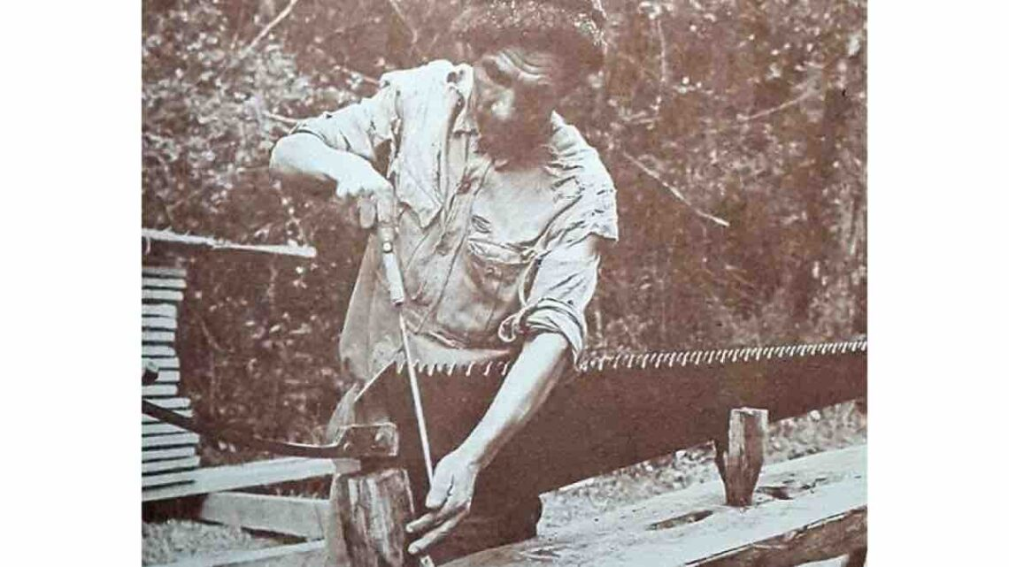 Sharpening a whip saw.