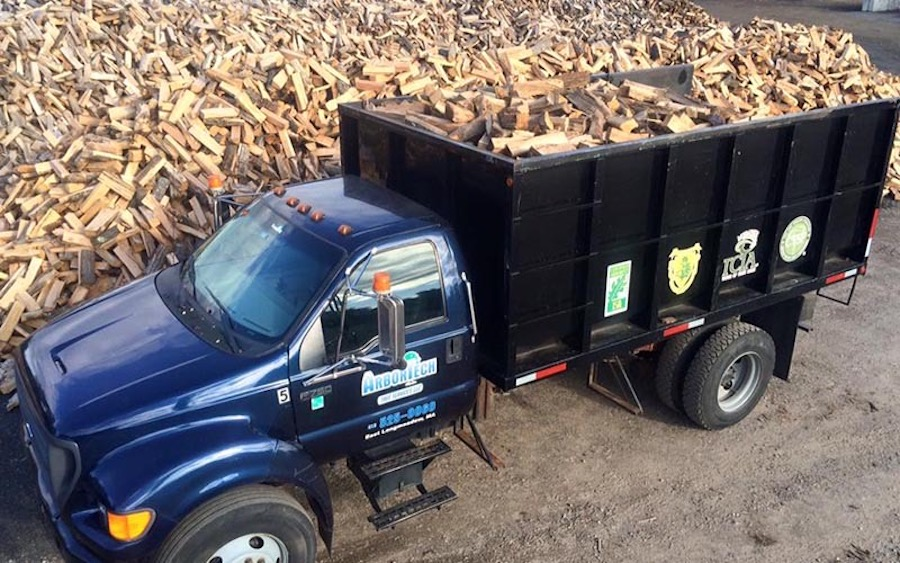 Firewood truck delivery service.