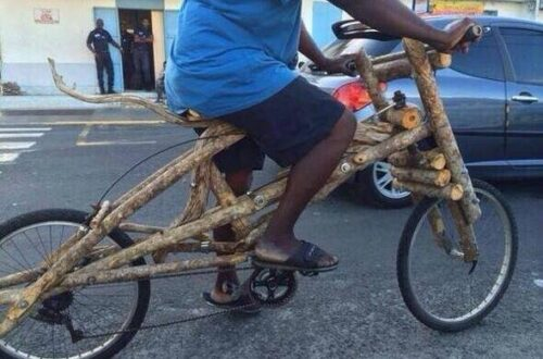 Bicycle made from firewood.