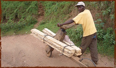 Wooden bikes made from scrap firewood, used for delivery of goods.