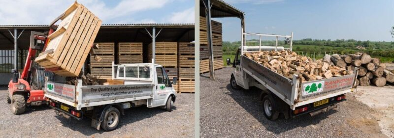 Rotating pallet forks to dump firewood box.