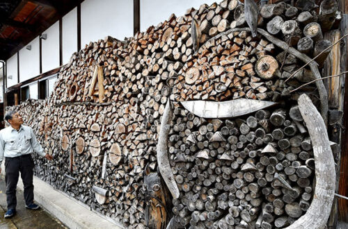 Firewood art piles around the world.