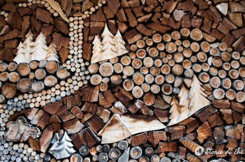 Mountain side firewood stacked art work.
