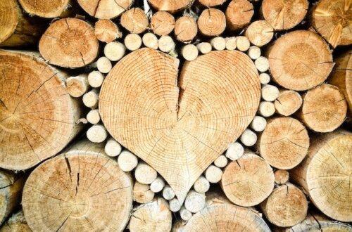 Valentine's firewood art.