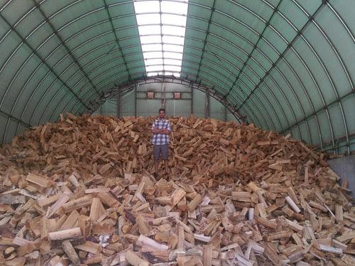 Huge pile of firewood under cover.
