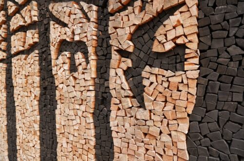 Firewood stacked art work from around the world.
