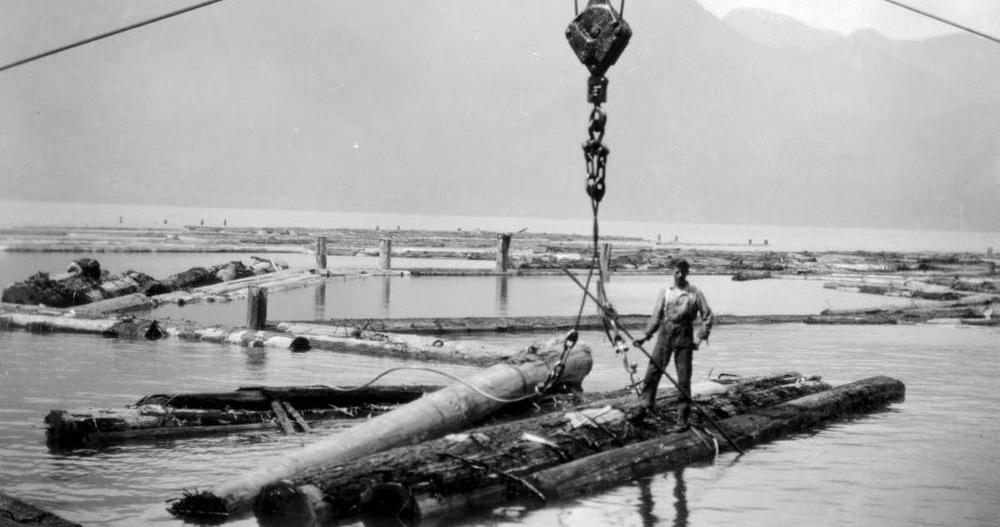 1928 B And K Co., booming ground on Pitt Lake.