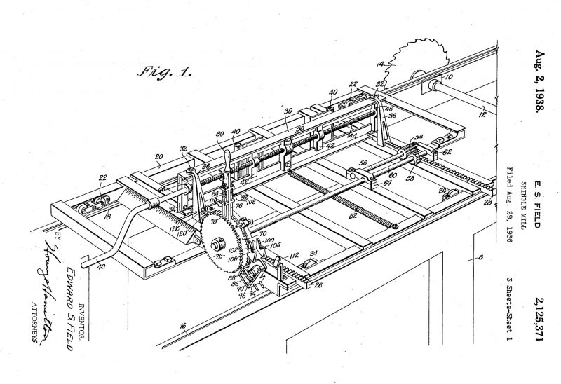 1936 Illustration of a patent for a Shingle Mill