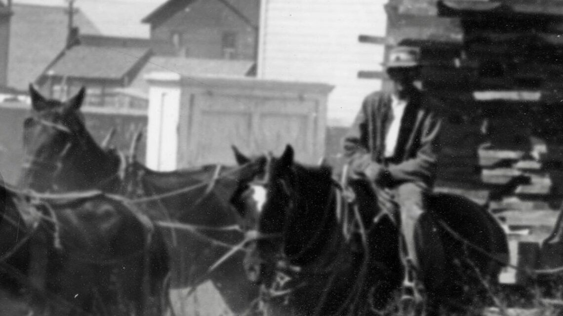 1900 Lumber wagon pulled by horses.