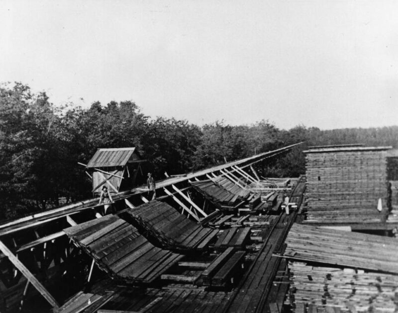 1900 Pulling lumber from a flume.