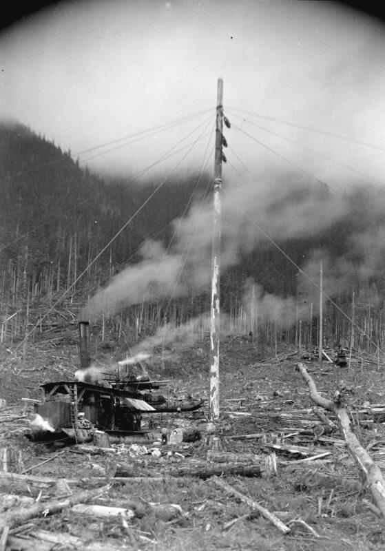 1932 Green Point Logging Co. Ltd., spar tree log loading