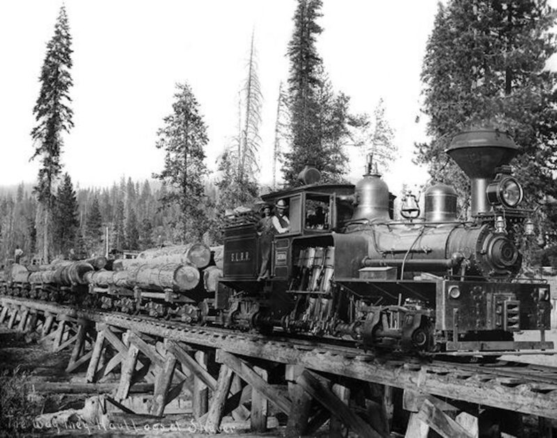 1900 Shaver Lake Rail Road locomotive, hauling logs from the mill.