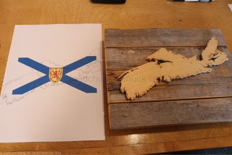 wood map,map of NS,nova scotia,flag map,flag of NS,scroll saw,wood crafts,wall crafts,diy