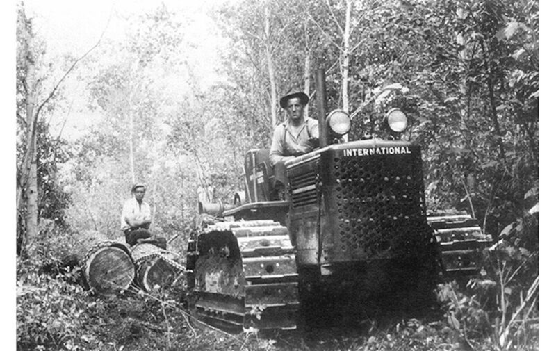 A caterpillar tractor is hauling large logs.