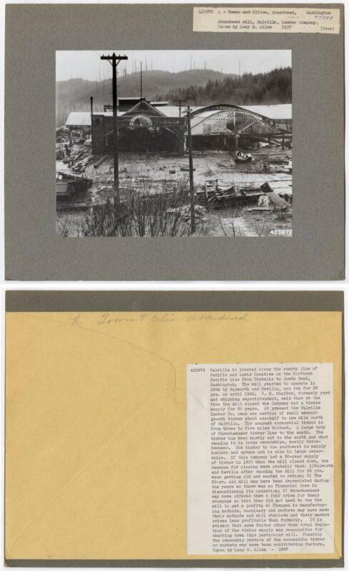 1937 Abandoned sawmill, Walville Lumber Company, Washington